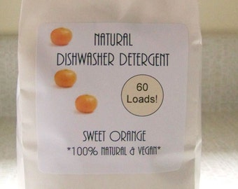 Natural Dishwasher Detergent Soap- Sweet Orange Scent- 60 Loads