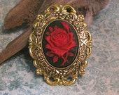 Cameo Brooch Black with Red Rose  Antiqued Gold  Filigree and Setting