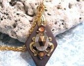 Stained Glass Necklace  Bronzed Beauty