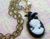 Cameo Necklace Black and White Profile Fancy Link Chain
