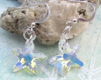 Starfish Earrings Beach Wedding Sterling Silver Crystal AB