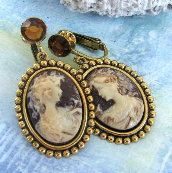 Victorian Lady Clip On Cameo Earrings