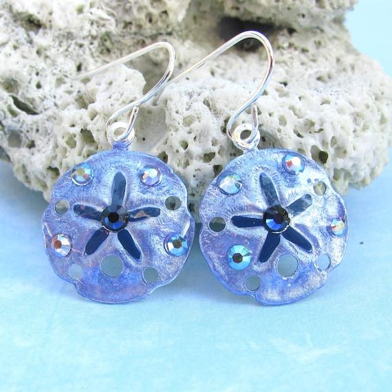 Tropical Sanddollar Earrings Handpainted in Denim Blue