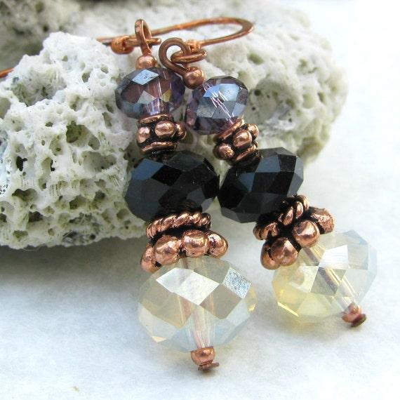 Golden Champagne Crystal Copper Earrings