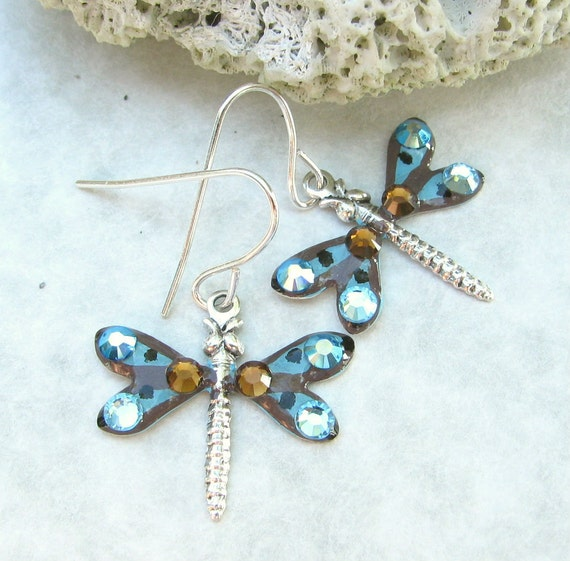 Dragonfly Earrings Hand Painted Aqua and Brown