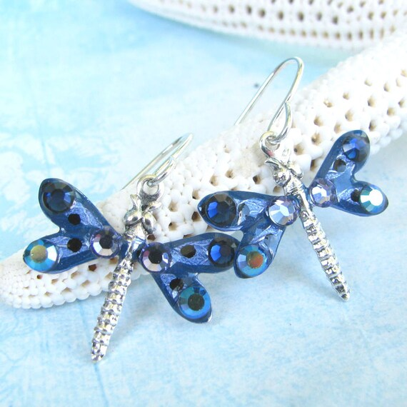 Dragonfly Earrings Sparkling Purple and Blue