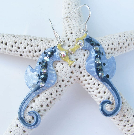 Seahorse Earrings Fun Hand Painted in Pearl Blue and Navy