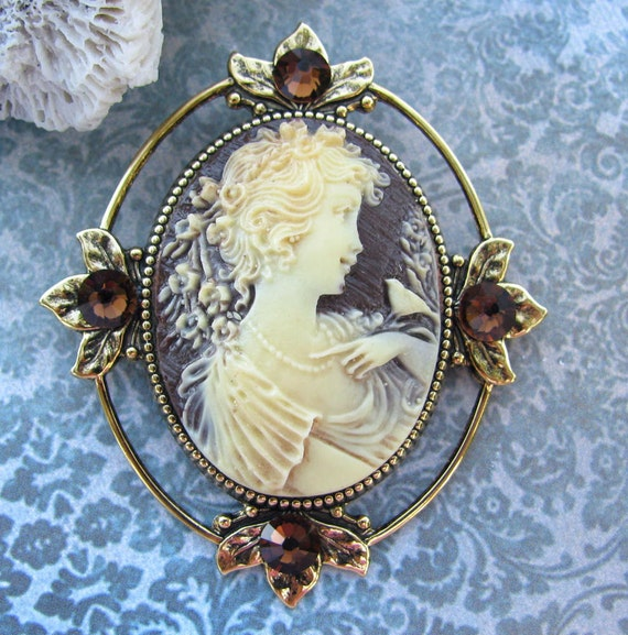 Cameo Brooch or Pendant with Smoke Topaz Accents