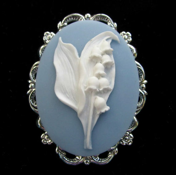 Cameo Brooch or Pendant Lily of the Valley