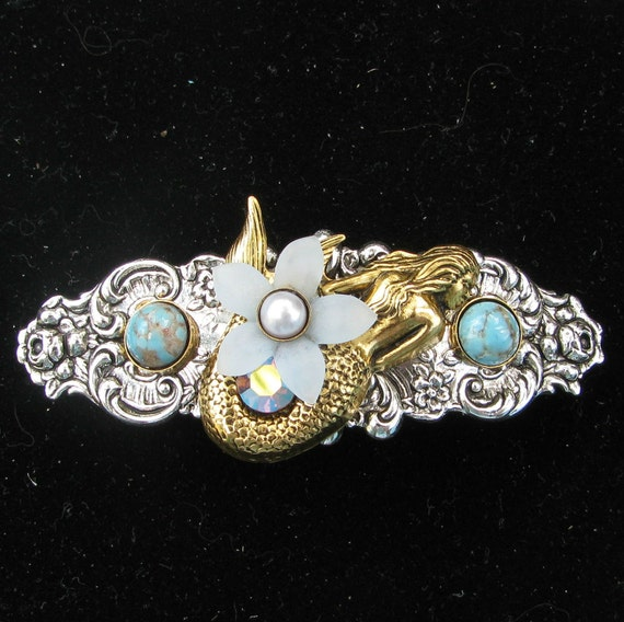 Mermaid Hair Barrette Two Tone with Pearl and Turquoise Matrix Accents
