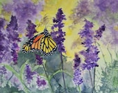 Aceo Monarch and purple flowers