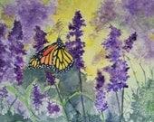 ACEO Monarch und lila Blumen