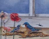 Aceo Fast Food Window bluebirds