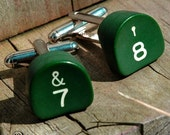 CUSTOM Vintage GREEN Typewriter Key Cufflinks by 19 Moons- Great Graduation Wedding Birthday Anniversary Fathers Day Gift - ECO FRIENDLY CHIC