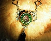 Steampunk Gothic Necklace EYE of CTHULHU by 19 Moons - Vintage Huge Glass Eye on Silver with Iridescent Dangles- Stunning Sea Monster OOAK