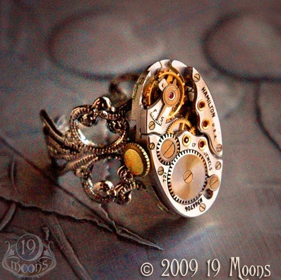 CHATELAIN TOCKE 1930s Vintage Steampunk Ring by 19 Moons - RARE STRIPE SILVER HAMILTON Movement with Ruby Jewels -Eco Friendly Watch Work GOTHIC CLOCKWORK TIME MACHINE