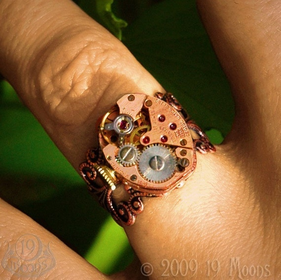 Ma Vie En Rose Steampunk Ring - Vintage Petite Clockwork Watch in Rose Gold on Victorian Style Adjustable Ring- GORGEOUS