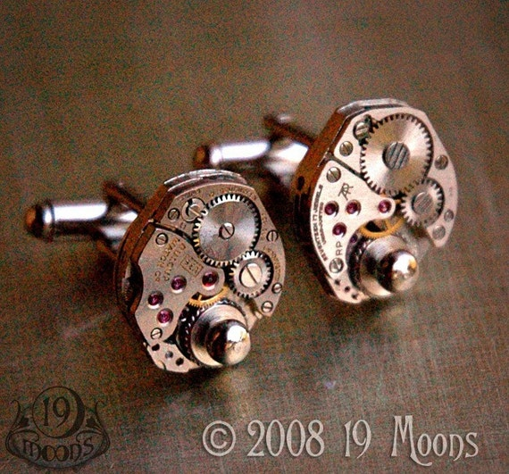 TIME LORD Steampunk Vintage Watch Movement Cufflinks by 19 MOONS EXCLUSIVE Ruby Jewels
