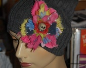 Dia de los Muertos Cemetery Flower Pin by Tink with Charcoal Beanie