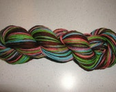 Handpainted wool yarn - Handdyed striping green, blue,purple, pink, and maroon worsted weight soaker yarn