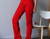 SALE- Red Valentine Heart- Vintage Red Denim Wrangler High Waist Jeans