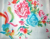 Fabric - Satin in Traditional Chinese Pheonix and Peony Pattern (White)