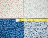 Fabric - Cotton in 4 Different Floral Pattern (Beige, Blue, Green and Orange)