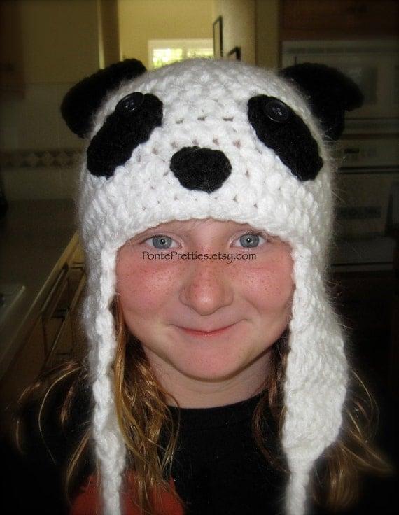 Panda Bear Earflap Hat Crochet Pattern : Crochet Panda Bear Hat