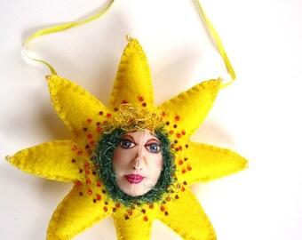 Fiber Art Doll, Sunflower doll, Artdoll ornament, Home decor, flower art, Sunflower Ornament, OOAK Art Doll Ornament