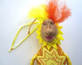 Fiber Art Doll, Yellow Cloth Doll, Embroidery Art, Sunshine Goddess Art, OOAK Doll