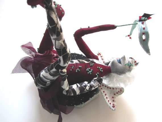 Music Box Doll Mardi Gras Fairy, OOAK Art Doll, Red and Black