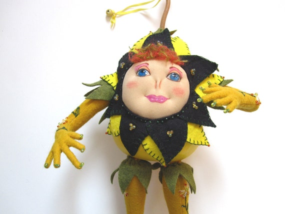 Doll, Gourd Art Doll, Sunshine Yellow, Fiber Art, Mixed Media Artdoll