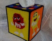 Collectible Handmade M and M's Characters Tissue Box Cover in Plastic Canvas