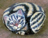 Hand Painted Kitty Cat Rock - Tiger Tabby