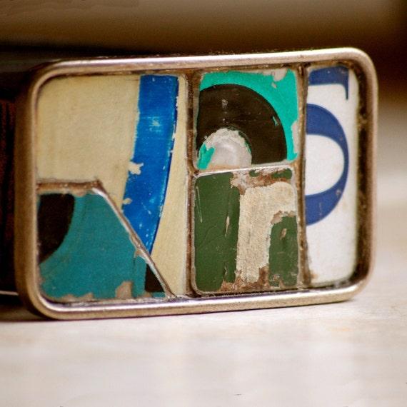 Greens Belt Buckle Vintage License Plate metal mosaic