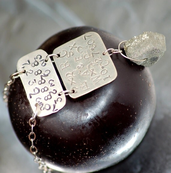 Stamped Silver Pyrite Necklace with druzy pendant