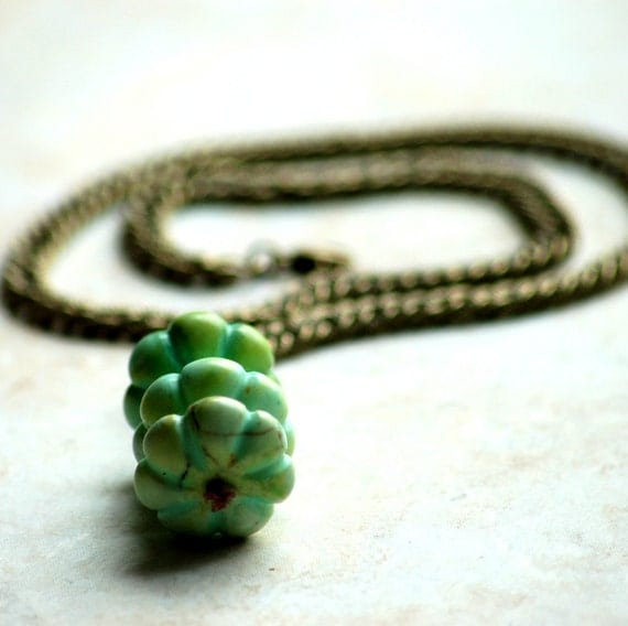 Turquoise Howlite Triple Stack Vintage Style Brass Link Necklace