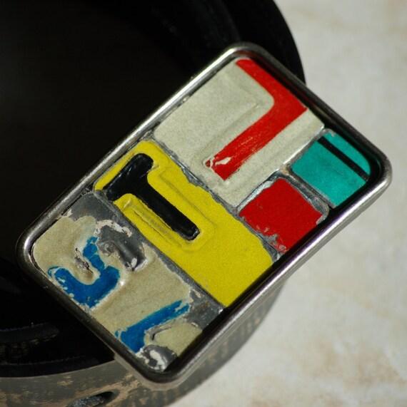 T Mosaic Belt Buckle Vintage License Plate Metal