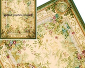 Delicate Floral Dollhouse Aubusson Bedroom Rug Large 8 x 10.5 Inch Room Sized Carpet