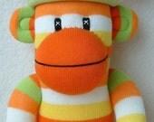 Citrus Stripe Sock Monkey Made to Order