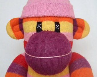 Groovy Girl Striped Sock Monkey (made to order)