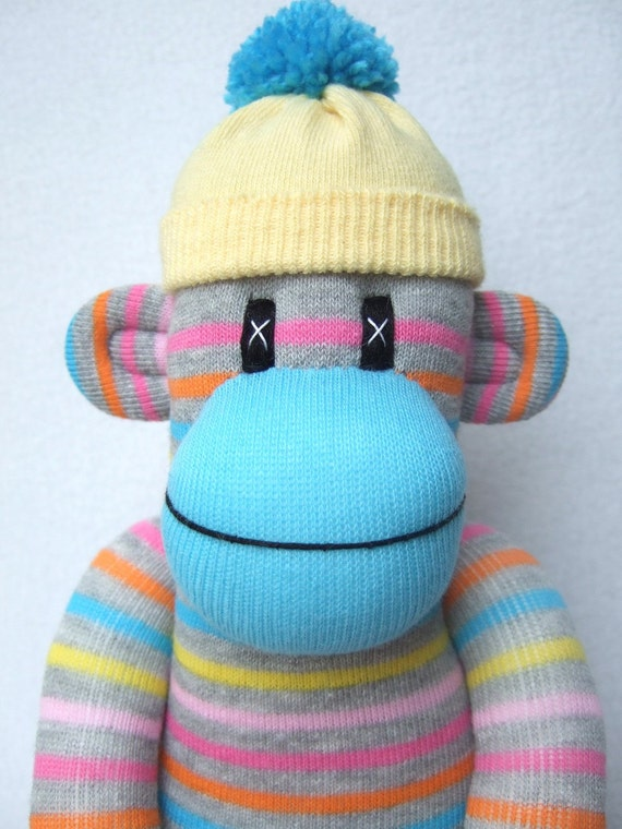 Bright Pin Striped Sock Monkey (made to order)