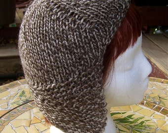 Handknit Helmet wool hat CLEARANCE
