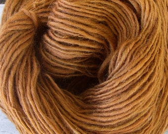 Handspun Wool Yarn bronze copper 148 yards knitting crochet