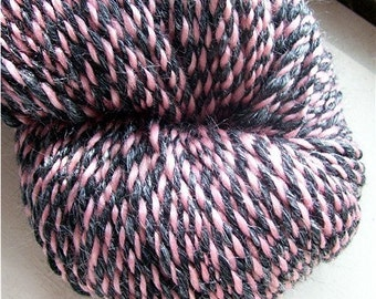 Merino and Silk Handspun Yarn Pink and Licorice