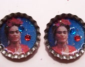 Frida Kahlo Bottlecap Earrings