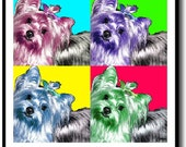 YORKIE YORKSHIRE TERRIER DOG POP ART by SHEENA FRAMED