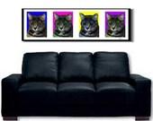 GREY TABBY CAT ORIGINAL POP ART by SHEENA HUGE 44 X 13