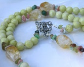 Yellow Chrysoprase and Natural Citrine Catholic Rosary with Wood Crucifix