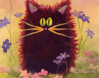 Maroon Scaredy Cat matted print